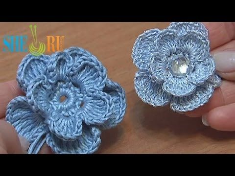 Crochet 3D Layered Flower Tutorial 6 - love this for baby headbands.