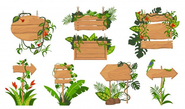 Download Jungle Wooden Boards Set For Free Animal Pictures For Kids Wooden Board Vector Free