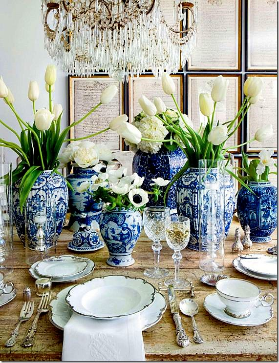 Love blue and white and wonderful framed prints in background!!