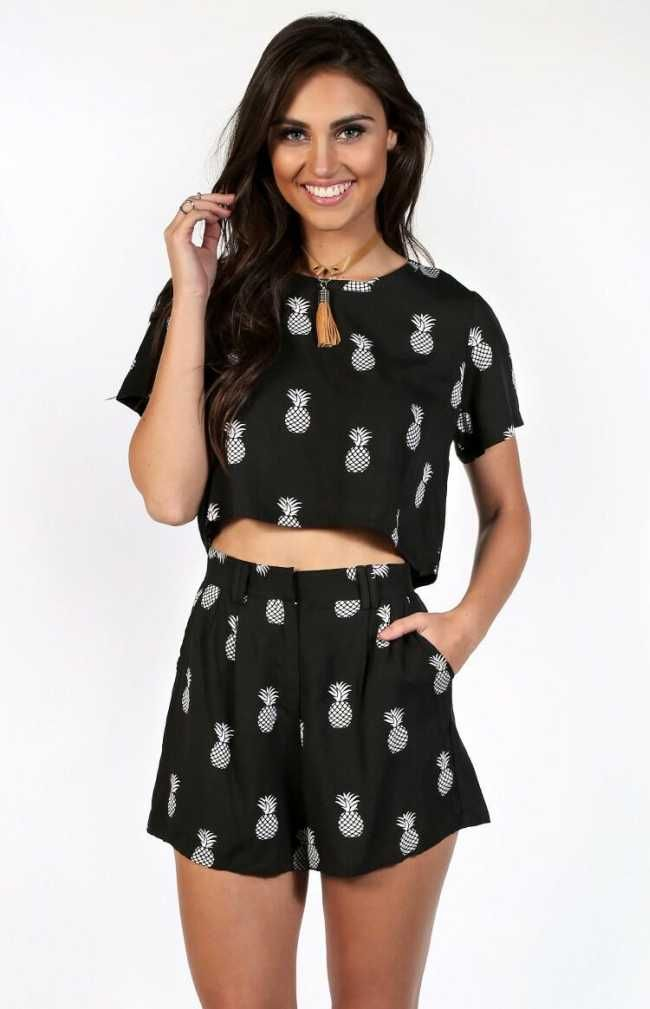 Pineapple Print Top & Shorts - $79.00