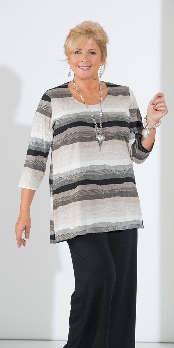 Kasbah black/natural jersey stripe short sleeve top
