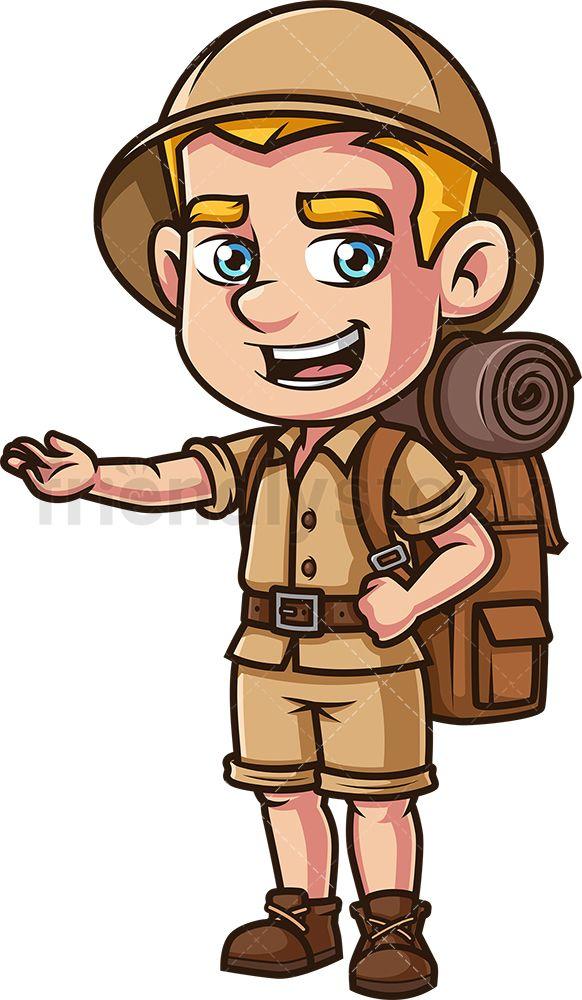 Male Safari Explorer Presenting Cartoon Clipart Vector Friendlystock Cartoon Clip Art Cartoon Cartoon Drawings