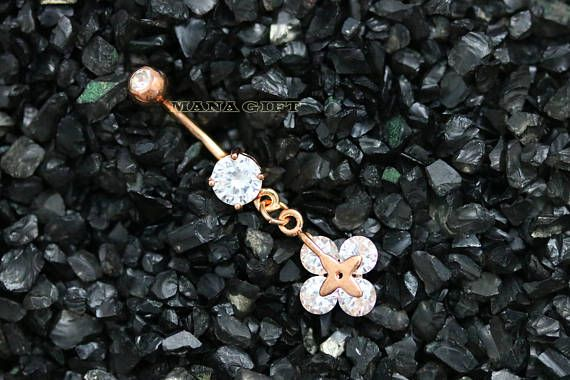 Fleur de cristal Dangle piercing nombril, nombril CZ bague en or Rose, le ventre ventre bijoux, Piercing, H 227