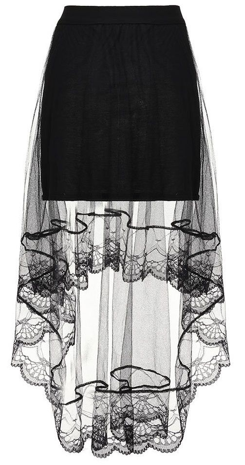 Women Mesh Sheer Solid Fake Two-piece High Low Maxi Skirt
