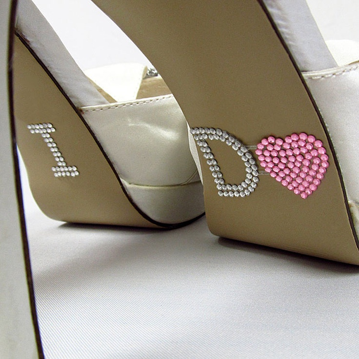 I Do Crystal Custom Wedding Sole Bling In Silver With Pink Heart As The O