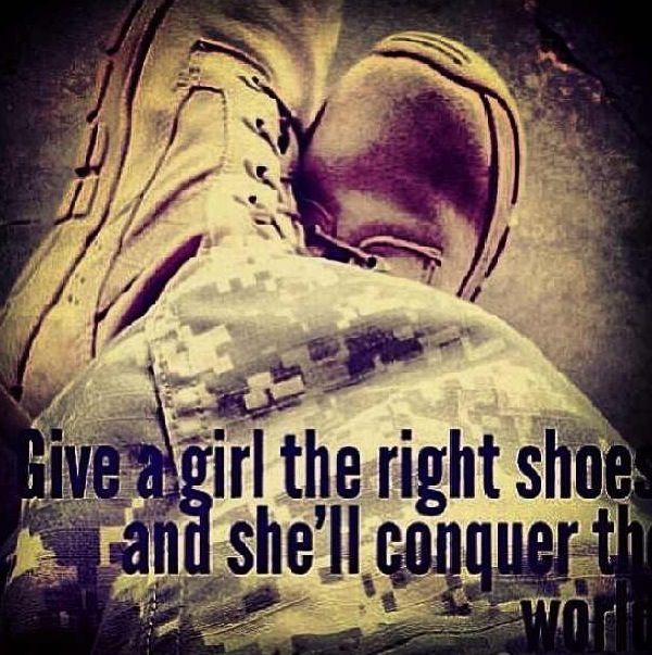 Female soldier: Give a girl the right shoes... Mom alwas said her Army boots were the best!