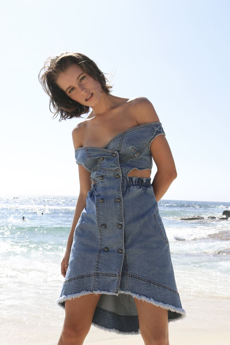 Britt Odell wears Aje denim dress. #AjeTheLabel #AjeInsider #AjeGirl #Fashion #Style #BronteBeach #Australia #Summer #Fun #Model #Creative #Love #Beach