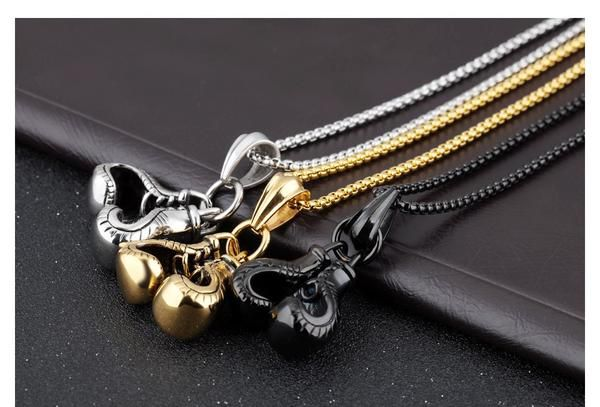 3 Variety Stainless Steel Boxing Glove Pendant Necklaces