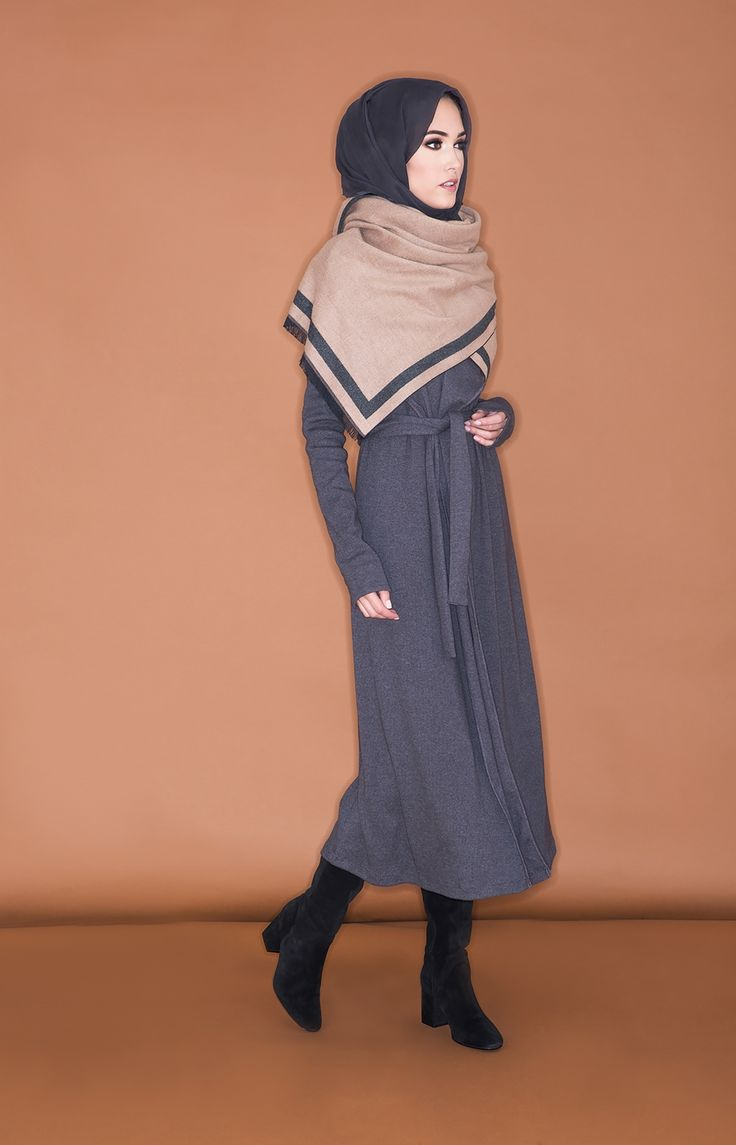 Cashmere Stole - Charcoal & Beige | Aab