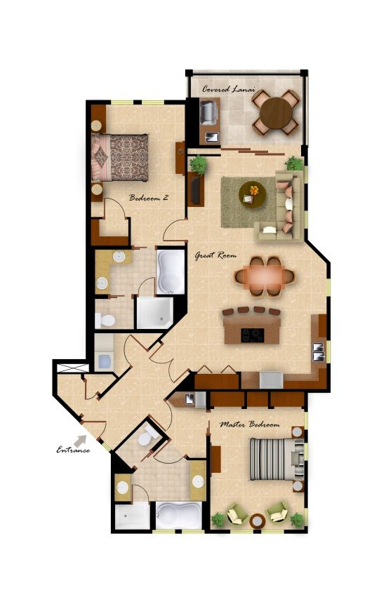 2 Bedroom/2 Bathroom Floor Plan Part 33
