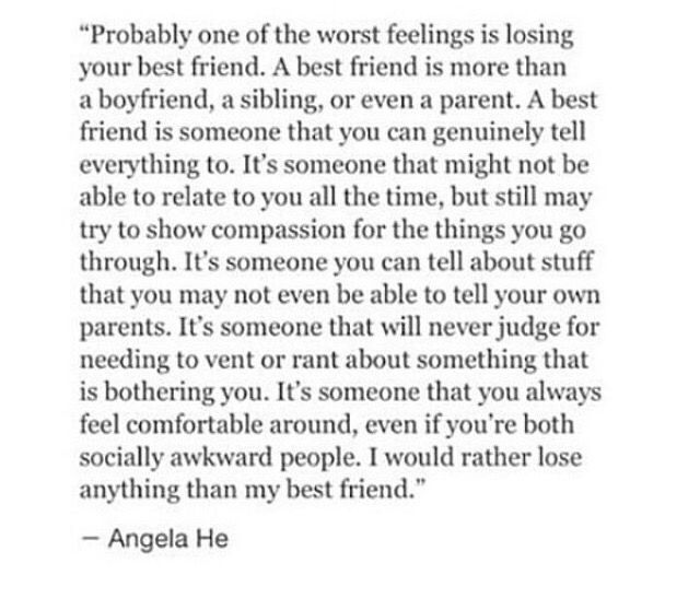 this is cute, but I disagree with some of its aspects. Your parents and siblings are there forever, your best friend probably won't be. That's what's so awful about it. You have this person in your life who in so many ways feels like family, and you can loose them in an instant. That's what hurts so much. Loosing your chosen family.