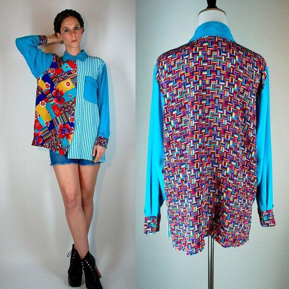 Vintage 80s Avant Garde Oversized Billowy Silk Graphic Floral Long Balloon Sleeve Shirt / Jacket. Artsy Draped Dress Blouse. Small - Medium