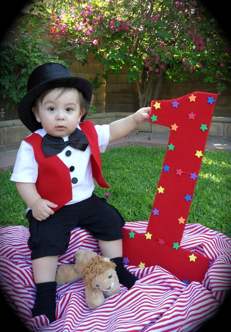 Ringmaster photo for circus 1st birthday invite...