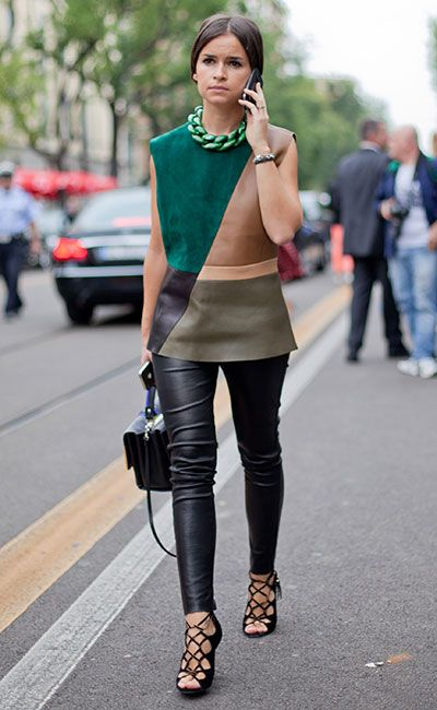 Miroslava Duma | camel tan green olive teal black multicolored sleeveless suede leather shirt + leather pants + cage strap sandal heels