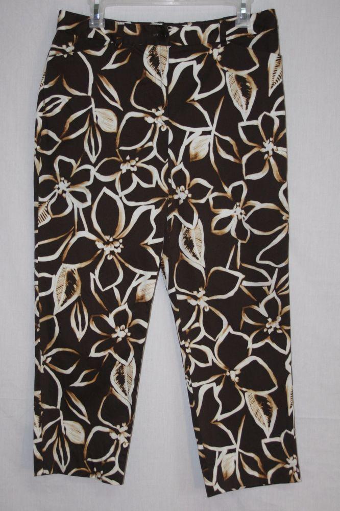 Jones New York Signature Brown Floral Stretch Cropped Capri Pants Size 10 Women's Fashion