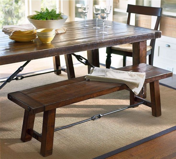 Rustic Solid Wood Dining Table With Bench Decor Ideas