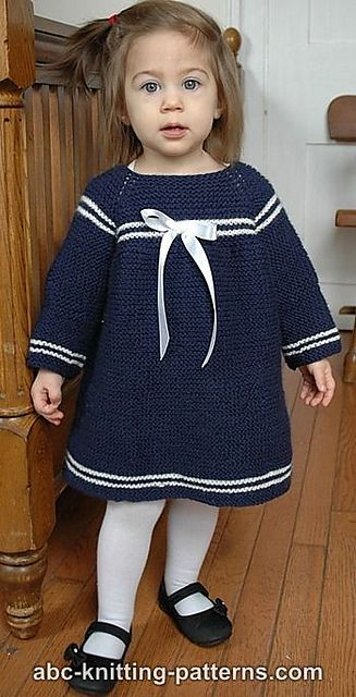 Knitting Patterns Galore - Child's Easy Sailor Dress