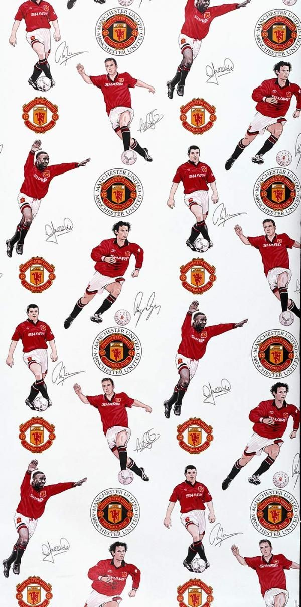 Wallpaper produced for Manchester United Football Club, 1995, colour machine print. Museum no. E.187-2000, © Victoria and Albert Museum, London