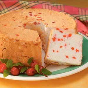 Get a box of angel food cake mix then and a cup of marchiattos cherry