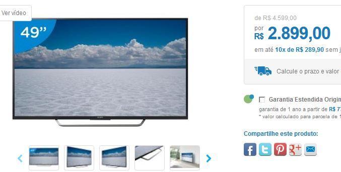 "Smart TV LED 49"" Sony 4K Ultra HD KD-49X7005D Android TV Wi-Fi 4 HDMI 3 USB 49"" << R$ 289900 em 10 vezes >>"