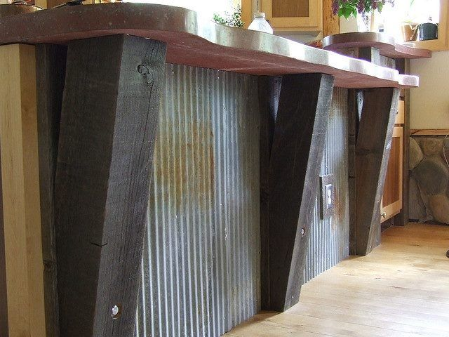 Awesome! Concrete counter with reclaimed timbers and corrugated metal