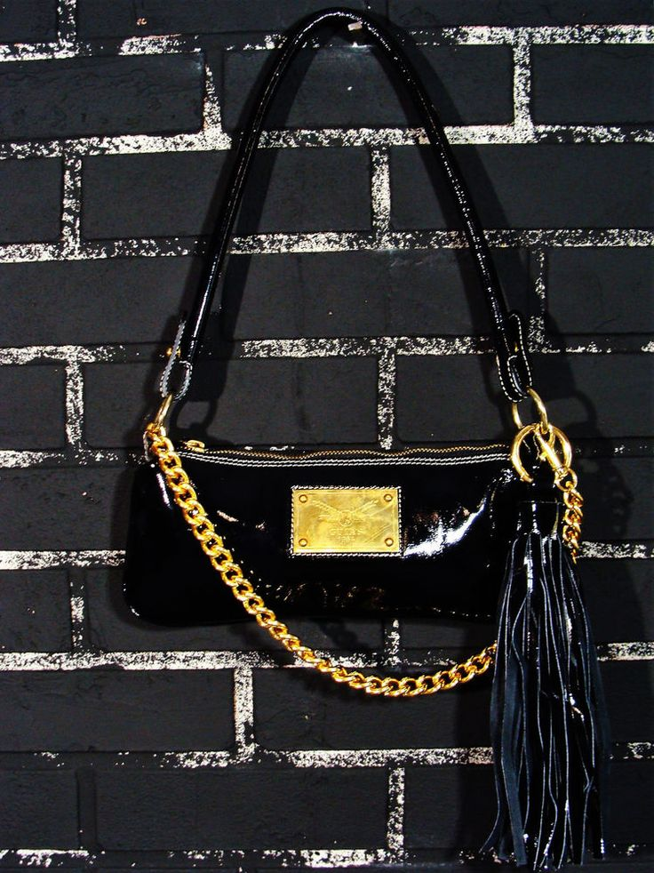 Guia's BlacGuia's Black Patent Leather Shoulder Handbag Italian Gold Chain Strap #Guias #ShoulderBag