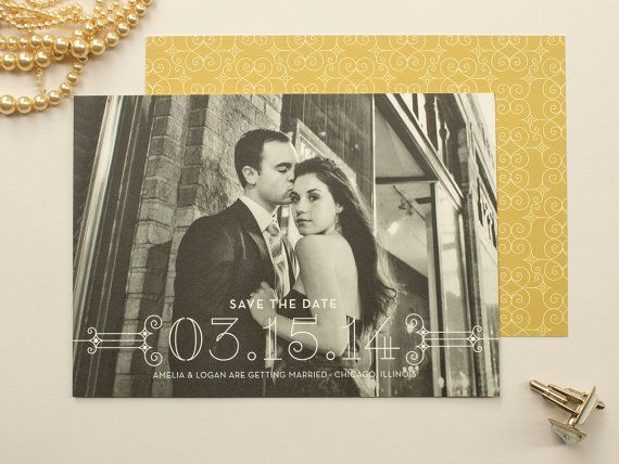 Posh | Art Deco Photo Save the Date, Formal Wedding Save the Date (set of 50) on Etsy, $100.00