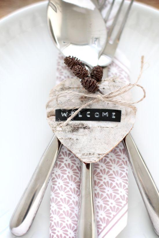 Label sticker + birch bark heart + mini pine cones + twine