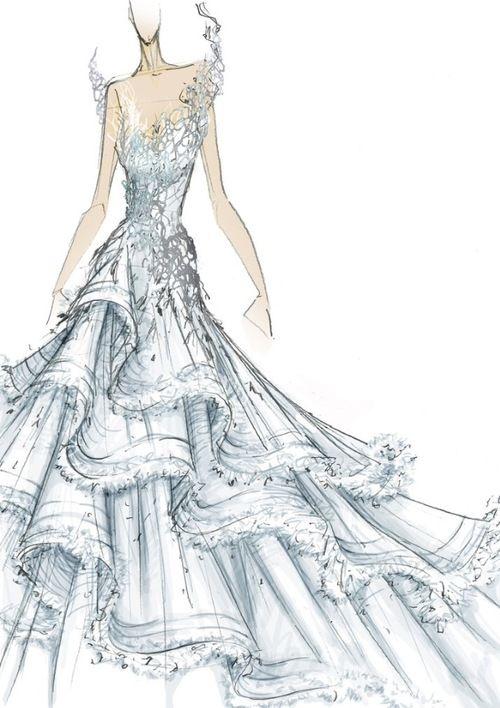 Katniss' Wedding Dress. Illustration by designer Tex Saverio
