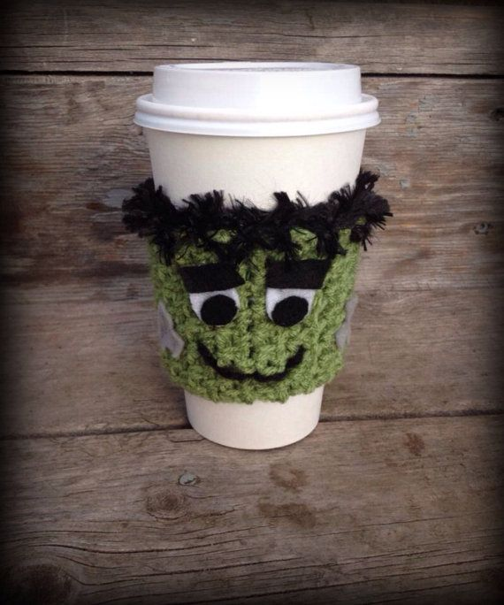 Fall is coming, hot drink season is here! Frankenstein drink sleeve with button up closure. PLEASE NOTE: shipping prices listed are an