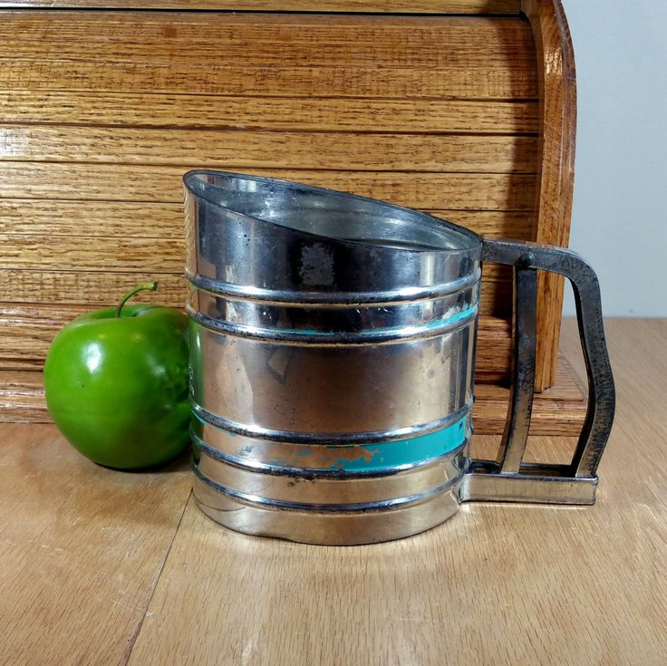 VINTAGE SIFTER Foley Flour Sifter Rustic Country Farmhouse Kitchen Decor Turquoise Stripe Mid Century Retro Kitchen Utensils by LastTangoVintage on Etsy
