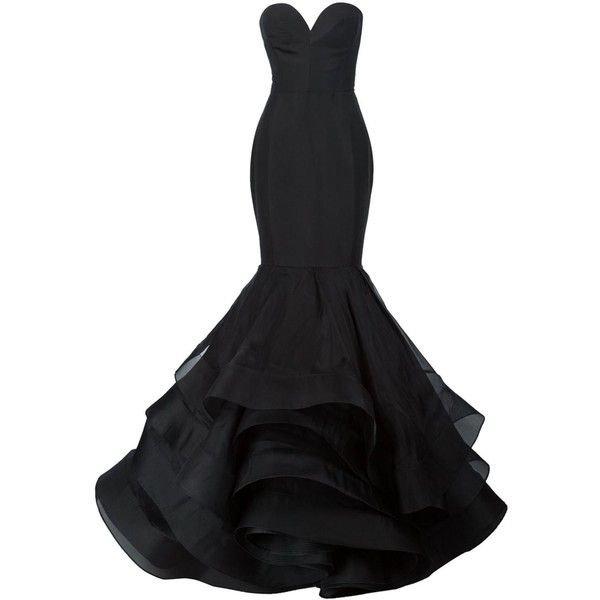 Christian Siriano ruffled mermaid gown ($9,365) ❤ liked on Polyvore featuring dresses, gowns and black
