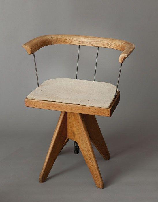 // Wojciech Jastrzębowski; Wood and Metal Swivel Chair for Jastrzębowski's Studio, 1953.
