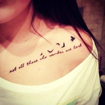Elegant cute chest Tattoo quotes with birds 2014 - Not all those who wander are lost