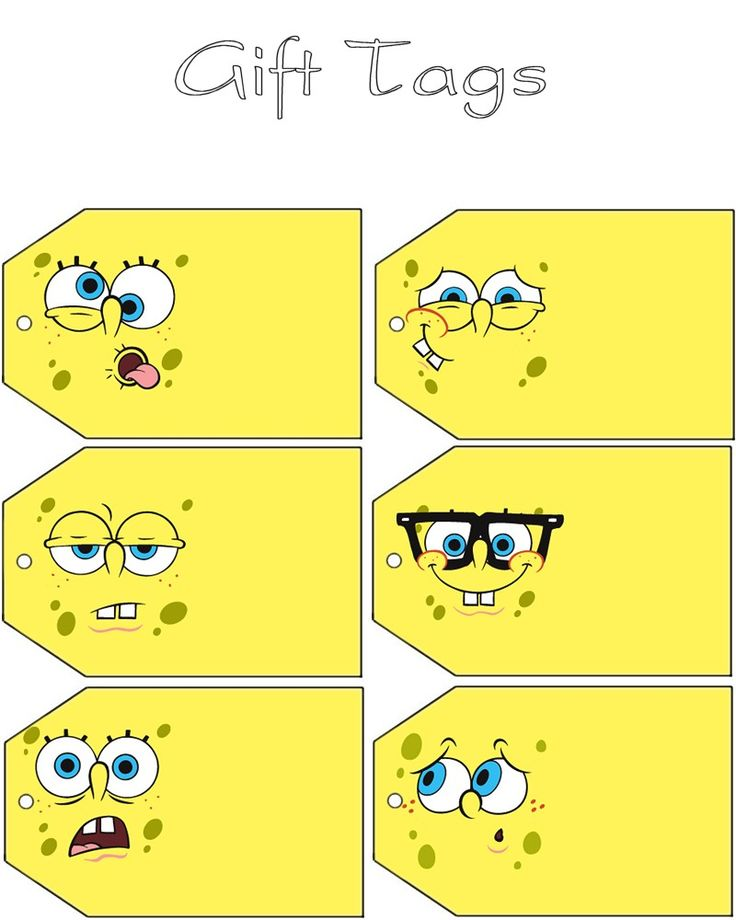 Free to use & free to share Spongebob gift tags for your next Spongebob party <3