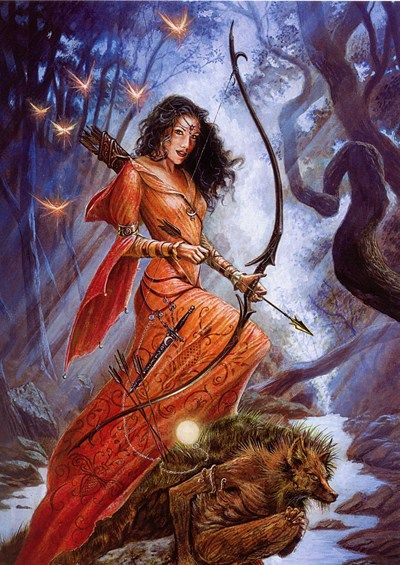 Diana, Roman goddess of the moon and the hunt. The equivalent to Greek goddess Artemis.
