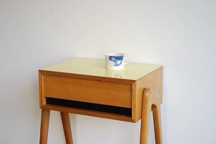 1950's side table with drawer and yellow formica table top.