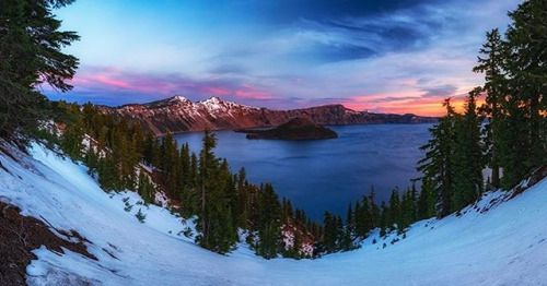 Photo By Stan Moniz. Another image from our interview with @stanmoniz on his epic road trip through four Oregon hotspots. He captured this six-image panorama at first light at Crater Lake National Park. Read all about his journey in the March issue! #oregon #oregonodyssey #OPMarch #roadtrip #naturephoto #main_vision #artofvisuals #watchthisinstagood #landscape_captures #awesome_earthpix #awesomeearth #ourplanetdaily #naturelovers #travel #adventure #mountainlove #pnwonderland #bestoforegon…