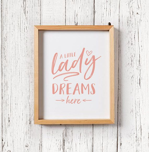 Little Lady Dreams Here Pink Nursery Print and Decor