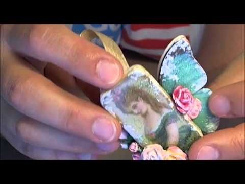 Shabby Chic Fairy Altered Domino - YouTube