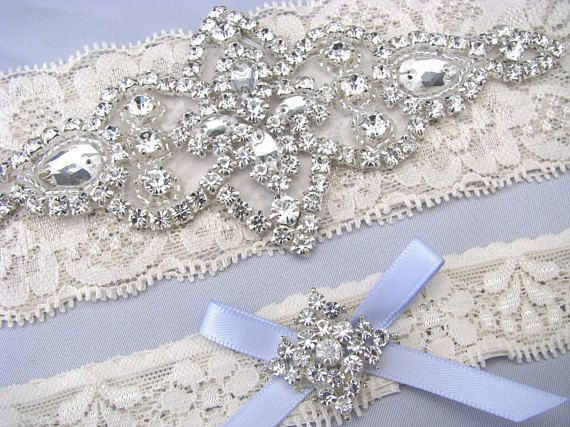 Something Blue Wedding Garters Ivory / White by LoveForeverBridal