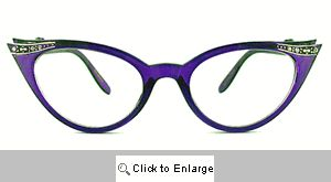Fete Jeweled Cat Eye Glasses - 539 Purple