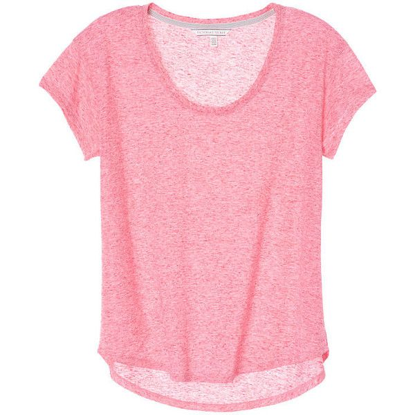 Victoria's Secret Scoopneck Tee found on Polyvore featuring tops, t-shirts, shirts, blusas, loose fitting t shirts, polyester shirt, loose tee, pink tee and scoop neck shirt