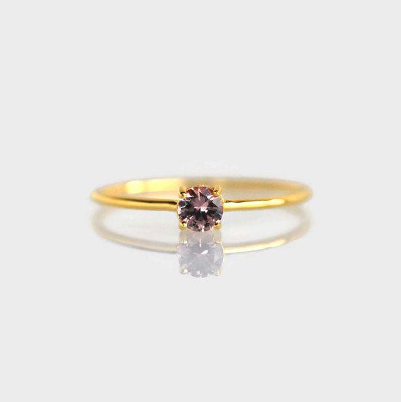 anello di champagne, Malaya granato anello, anello di promessa, anello di fidanzamento, regalo di Natale, regali per lei, anello granato Malaya oro 18K rosa