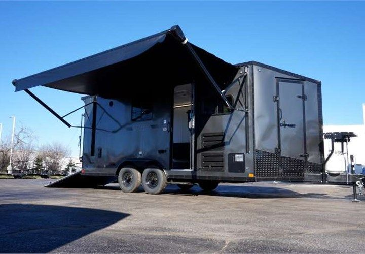 18 Toy Hauler With Upgraded Kitchen This Outstanding Toy Hauler Features Two Wall Mount Fold Out Sl Toy Hauler Trailers Toy Hauler Travel Trailer Toy Hauler