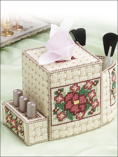 Plastic Canvas - Tissue Topper Patterns - Boutique-Style Patterns - Cosmetics Caddy