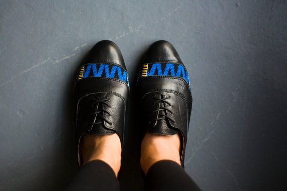 Women's leather and kente cloth brogues by Kushn on Etsy