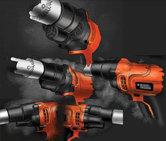 Black & Decker sketches by artist unknown | The designer here has built the sketches up to pop out of the dark background, caisdesign.com