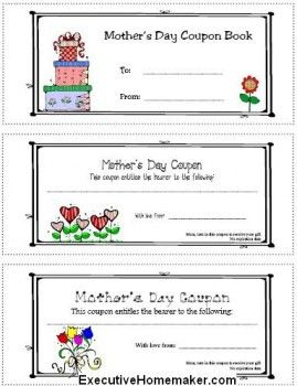 mother s day coupon book printables for mother s day diy mother 39 s day gifts pinterest mom. Black Bedroom Furniture Sets. Home Design Ideas