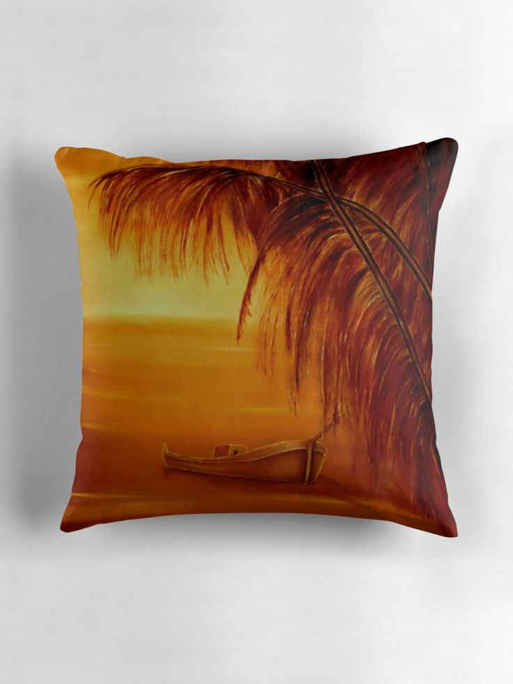 Throw Pillow,  home,accessories,sofa,couch,decor,cool,beautiful,fancy,unique,trendy,artistic,awesome,fahionable,unusual,gifts,presents,for,sale,design,ideas,orange,brown,tropical,palmtrees,sunset,coastal,boat,redbubble